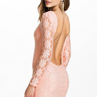 Pink Floral Lace Backless Dress