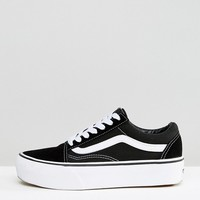 Vans Old Skool Platform Trainers In Black And White at asos.com