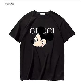"""Gucci"" Woman Leisure Fashion Letter Personality Mickey Mouse Printing  Hedging Crew Neck Loose Short Sleeve Motion Tops"