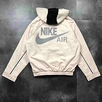Nike Air Stylish Print Long Sleeve Hooded Back Reflective Logo Zipper Cardigan Sweatshirt Jacket Coat White