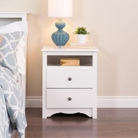 Prepac Monterey 2-Drawer Tall Nightstand with Open Cubbie in White-WDC-2428 - The Home Depot