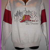 Vintage 80s Chldrens San Francisco Sweatshirt Dalmations Fire Station Theme Red Heather Grey Kawaii Cute