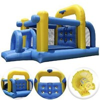 Cloud 9 Tunnel Course Bounce House - Inflatable Bouncer Climbing Obstacle with Basketball Hoop