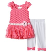 Little Lass Crochet Bow-Back Dress & Capri Leggings Set - Baby Girl, Size:
