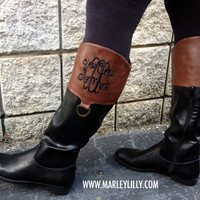 Monogrammed Brown & Black Colorblock Riding Boot   Footwear   Marley Lilly