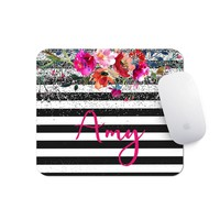 Floral Mousepad - Watercolor Office Decor - Personalized Mouse Pad