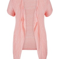 Plus Size - Open Stitch Back Short Sleeve Blanket Cardigan - Pink