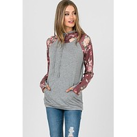 Double Hood Floral Hoodie with Zipper - Heather Gray and Burgundy