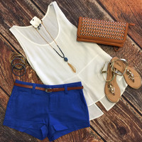 Just a Little Slit Top: White