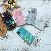 Viaerson Bling shine laser Golden Marble Printed Glitter Soft Tpu phone case cover for iPhone 6 6s plus 7 8 plus X cases