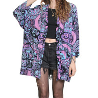 80s 90s Pastel Abstract Slouchy Duster - Pastel Goth - Rayon Shirt - BATIK - Oversized Blazer - 90s Grunge - Size Large - Pastel Duster