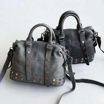 Leather Rivet Vintage Plaid One Shoulder Bags [6048714113]