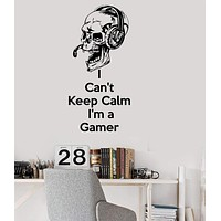 Vinyl Wall Decal Gamer Skull Quote Video Game Gaming Stickers Unique Gift (ig3661)
