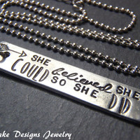 she believed she could necklace inspirational jewelry graduation gift for graduate inspiring quote