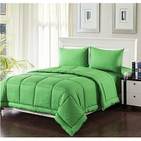 Tache Cotton Baffle Box Stitched Spring Green Comforter Set