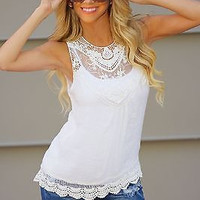 Fashion White Sleeveless Lace Blouse Summer Women Vest Top Casual Tank Tops Shirt