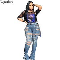 Wjustforu Sexy Hollow Out Ripped Jeans For Women