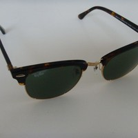 Ray Ban Clubmaster Sunglasses 3016 W0366 tortoise with gold and Green Lens 51 mm