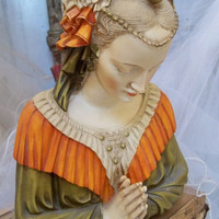 Beautiful lady statue bust or fragment vintage resin French home decor Anita Spero