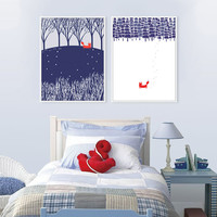 Nordic Minimalist Landscape Animal Fox Snow Forest A4 Art Print Poster Wall Picture Canvas Painting Living Room Decor No Frame