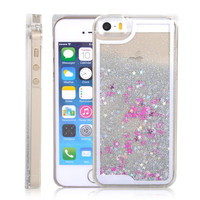 White Moving Stars Liquid Glitter Quicksand 3D Bling iPhone 6 Case Cover