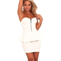 Womens Bodycon Formal Stretch Knit Zip Up Sweetheart Strapless Mini Party Dress