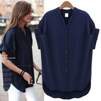 Navy Blue Pleat Short-Sleeve Asymmetrical Blouse