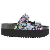 Jeffrey Campbell Aurelia - Black Floral High Platform Footbed Slide Sandal