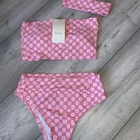 GUCCI GG Bandeau High Waist Bikini Set + Headband