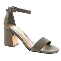 Podcast01 Taupe by Bamboo, Taupe Faux Suede Velvet Block Heel Ankle Booties W Bow