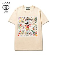 GUCCI Women Men Fashion Short Sleeve Pure cotton Print Round collar Top