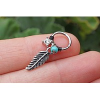 18 Gauge or 16 Gauge Feather and Turquoise Daith Hoop Ring Rook Hoop Cartilage Helix
