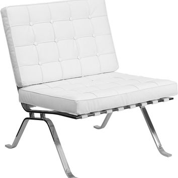 Flash Series White Leather Lounge Chair with Curved Legs