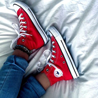 """Converse"" Fashion High tops Red Canvas Flats Sneakers Sport Shoes"