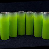 Vintage Lime Green West Virginia Blendo Highball Glasses - Set of Six Retro Barware