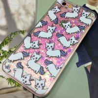 Unicorn Cat Case Liquid Glitter Fluorescent For iPhone