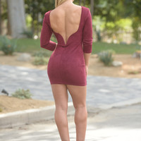 Dip It Low Dress - Burgundy