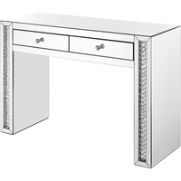 "Modern 47"" Rectangle Crystal Vanity Table, Clear Mirror Finish"