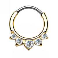 Clear Five CZ Paved Gold IP Septum Clicker
