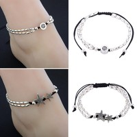 Sexy Women Boho Starfish Anklet Double Chain Jewelry Vintage Ankle Bracelet For Women Buddha Barefoot Beach Jewellery Shellhard