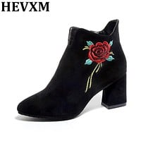 Women Fashion Winter Shoes Embroidery Thick High Heel Pointed Toe Floral Ankle Boots Square Heels