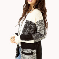 Colorblocked Open-Knit Cardigan