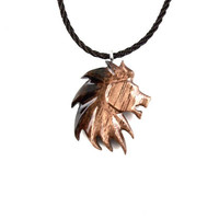 Lion Necklace, Mens Lion Necklace, Lion Pendant, Lion Jewelry, Mens Lion Pendant, Wood Lion Necklace, Men Jewelry, Men Necklace, Leo Jewelry