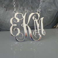 "Three Initials Monogram Necklace - 1.25"" Inch -925 Sterling Silver - Personalized Design - Christmas Gift"