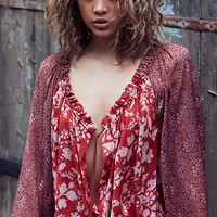 Free People In A Haze Printed Blouse