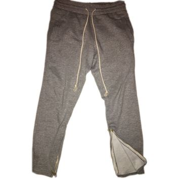 Grey Tapered Sweatpants w/ Ankle Zippers