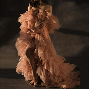 Sweet Heart Collar Maternity Star Dresses Tulle Robe Sheer Tulle Maternity Dress See Through Blush Pink Gowns