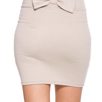 Foreign Exchange :: WOMEN :: KHAKI CUTE AS A BOW BACK FITTED SKIRT