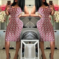 FENDI Newest Fashionable Women Sexy F Letter Print Sleeveless Show Body Knee-Length Dress Burgundy