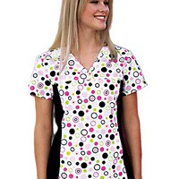 Buy Flexibles Womens V-Neck Polka Dots Print Nursing Scrub Top for $21.45
